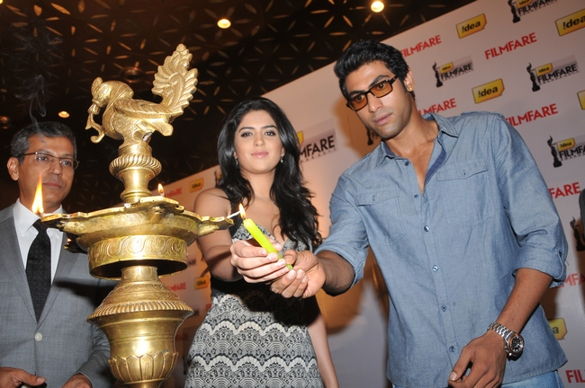 Rana Daggubati and Deeksha Seth announced the 59th Idea Filmfare Awards 2011 (South) at a press conference in  Hyderabad.