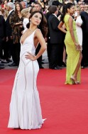 Actresses Longoria and Pinto arrive on the red carpet for the screeing of the film De rouille et d'os at the 65th Cannes Film Festival