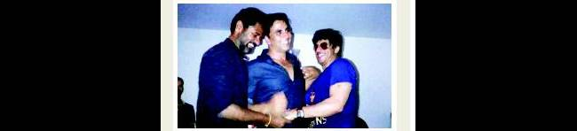 Post KKR's Sunday win, Khan along with his entourage landed at Prabhu Dheva's Rowdy Rathore bash and made it a tad bit rowdier.Source: Mumbai Mirror