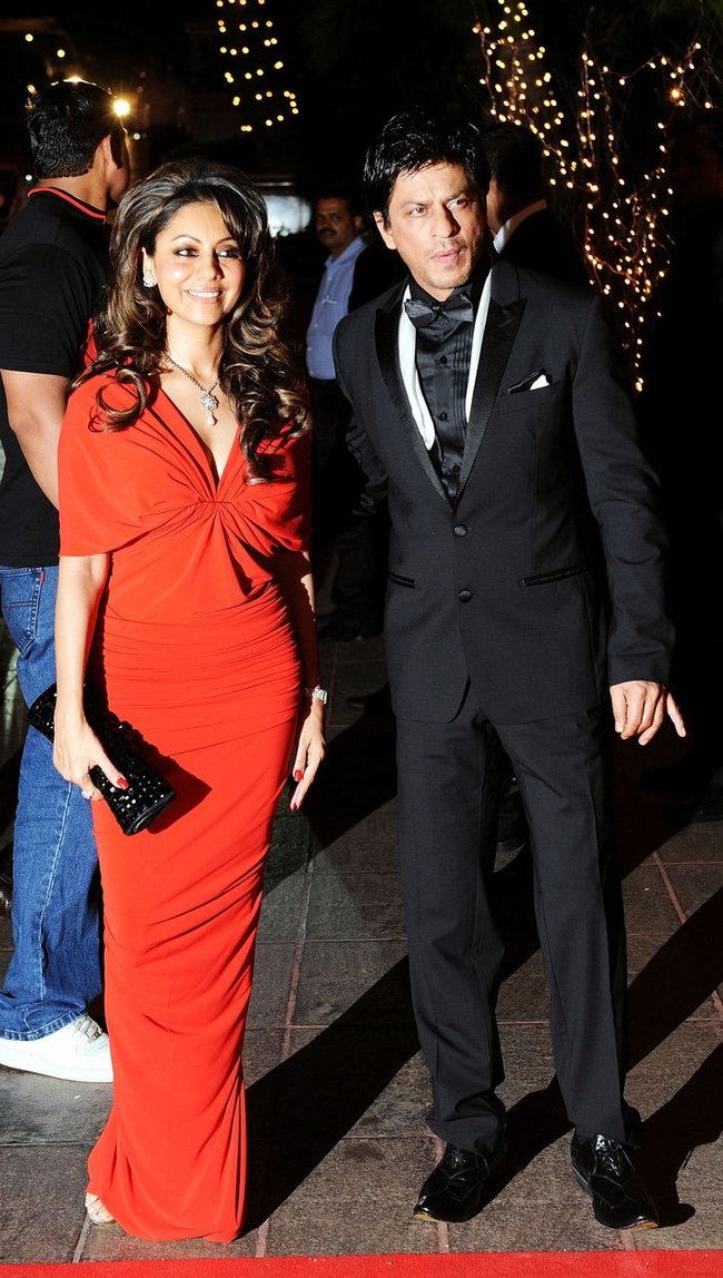 Shah Rukh Khan with Gauri at Karan Johar's birthday bash.