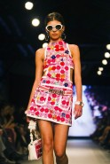 A model presents a creation by Moschino during a fashion show to open the Tel Aviv Fashion Week in Tel Aviv