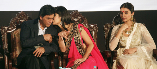 Shah Rukh Khan, Katrina Kaif and Anushka Sharma during the inauguration of the 18th Kolkata Film Festival, at Netaji Indoor stadium, on 10th November.