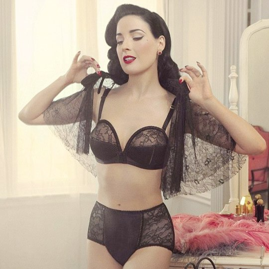 Dita Von Teese is known for her seductive and kinky style and appeal and her collection summarizes it with a vintage feel.
