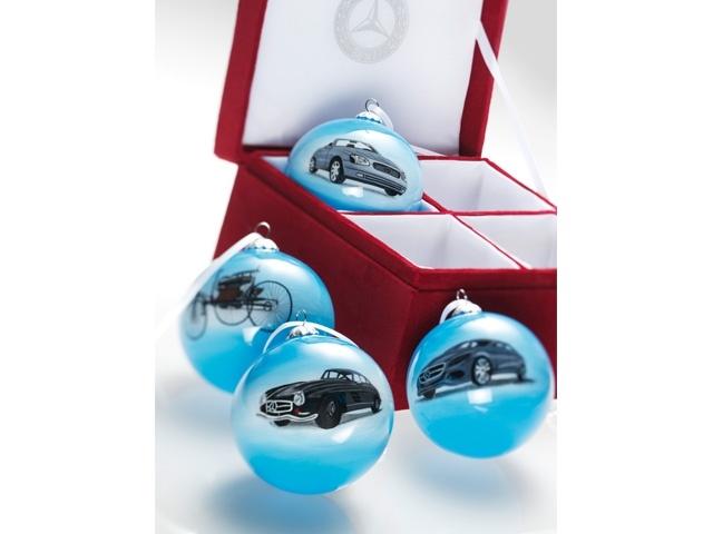 Christmas bauble set comprising 4 baubles, light blue glass, motifs: Benz patent motor car, 300 SL, SLK R 170 and F 800, in red velvet presentation box