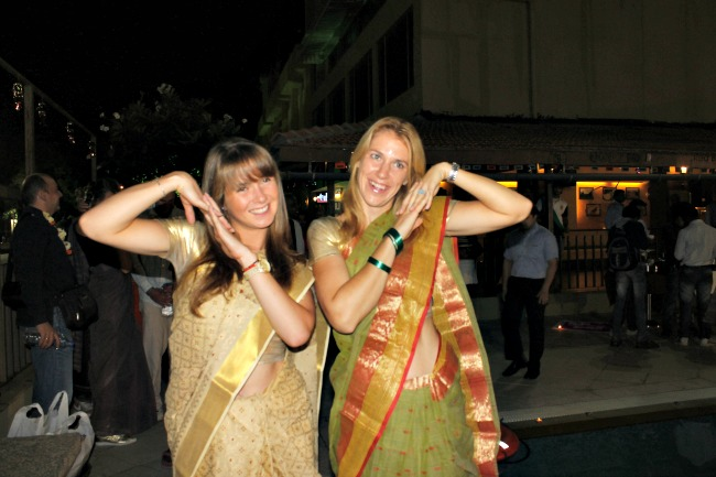 Two of the tennis players pose during the pre-Diwali bash, on the sidelines of Royal Indian Open 2012 in Pune.