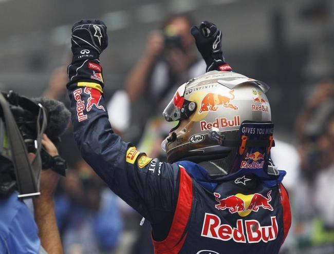 Sebastian Vettel Celebrates Victory in Style
