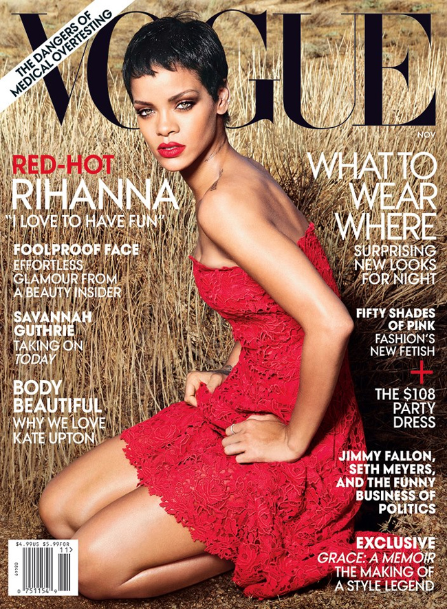 Rihanna on the cover of Vogue magazine's November issue.Image Courtesy: Vogue's Facebook Page
