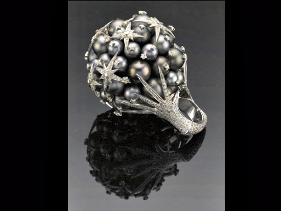 Ambara Ring, Ganjam: Ambara in Sanskrit means 'sky', and the ring made with a blend of Tahitian pearls, white sapphire and silver, is inspired by a dreamy night sky with glittering stars.