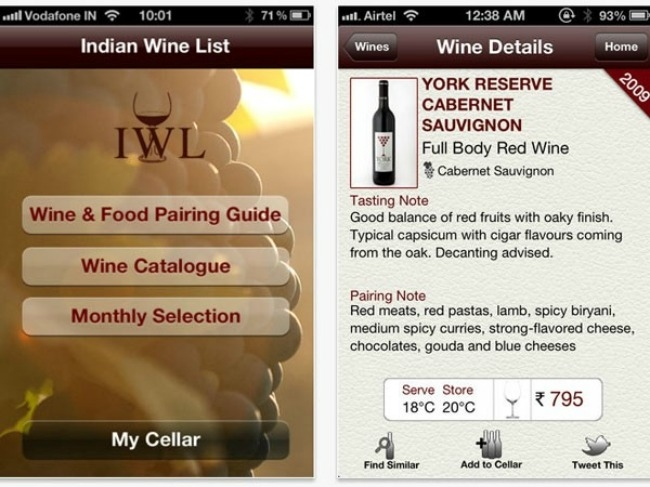 Indian Wine List: Currently the only app that can offer assistance when it comes to Indian wines, the Indian Wine List lets you browse by grape varieties, wineries and price.  There's even a Food & Wine Pairing Guide and a Monthly Selection recommendation of wine and food pairings across restaurants in Mumbai.  Free on iPhone and Android