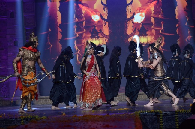TV channel Life OK launched their lavish mythological show Ramleela, Ajay Devgn ke Saath! by giving a glimpse of what to expect from the epic. Seen in the picture are Rajniesh Duggal as 'Ram', Richa Pallod as 'Sita' and Aman Verma as 'Raavan'