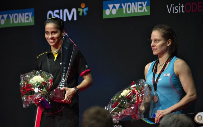 The 22-year-old Saina, who was competing in her first tournament after the London Games, won 21-17, 21-8 in 35 minutes to notch up her second Super Series Premier title which fetched her $30,000 from a total purse of $400,000.