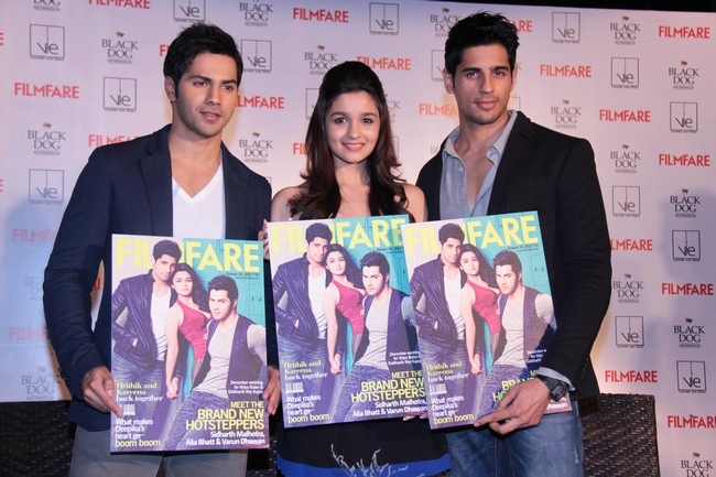 Varun, Alia, Sidharth pose with their Filmfare cover
