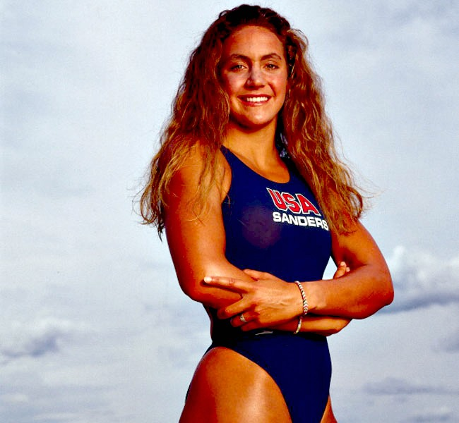 Former Olympic champion swimmer Summer Sanders was born on October 13, 1972 in Roseville, California. (Photo:Getty Images)