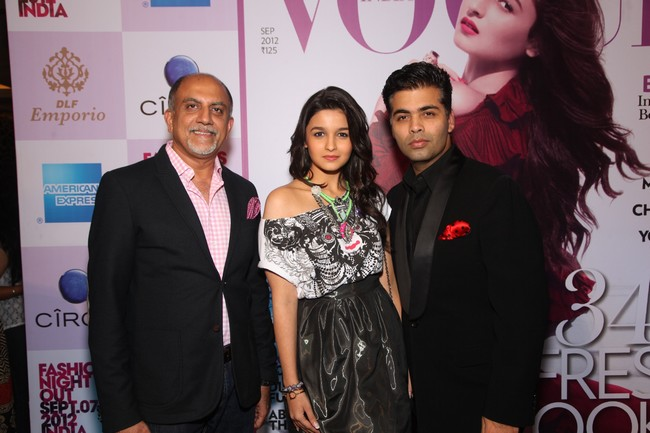 Alex Kuruvilla, Alia Bhatt and Karan Johar