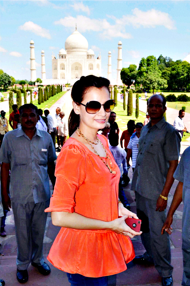 Bollywood actress Diya Mirza visited Taj Mahal in Agra on Wednesday.
