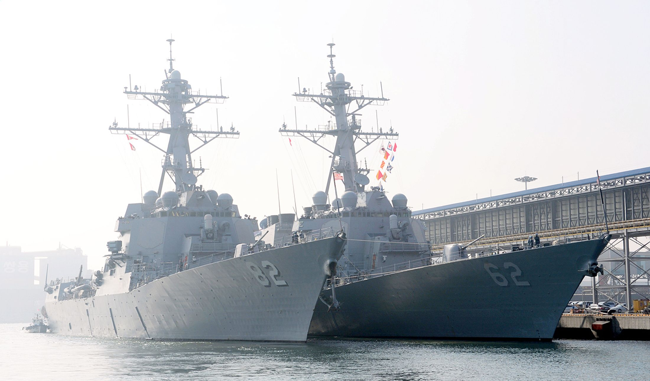 guided-missile destroyer USS Lassen (DDG 82) arrives to participate in the annual joint military exercises, dubbed Key Resolve, between South Korea and the United States