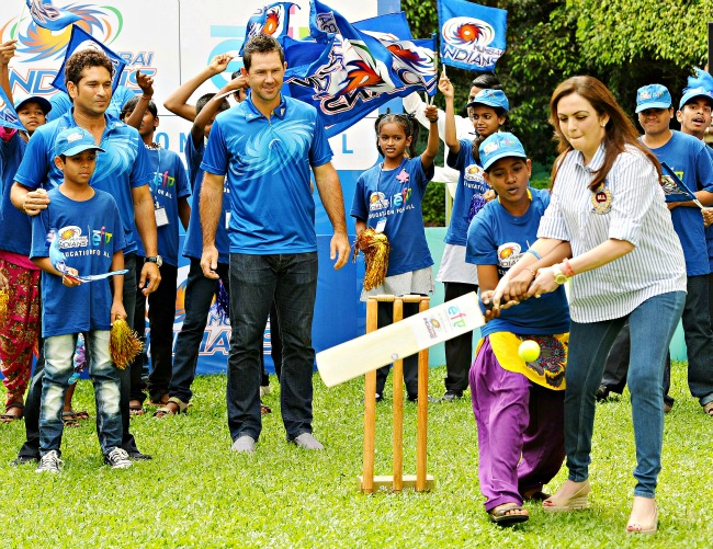 Nita Ambani Plays Cricket