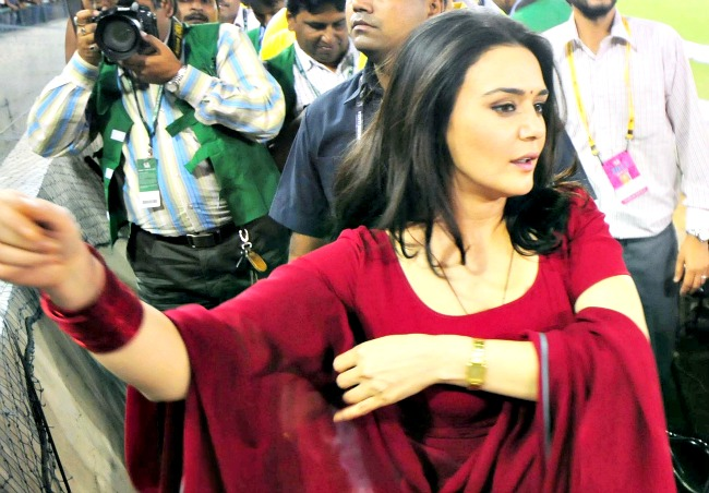 Preity Zinta during the Indian Premier League match between Kings XI Punjab and Chennai Super Kings in Mohali. (Photo: BCCL)