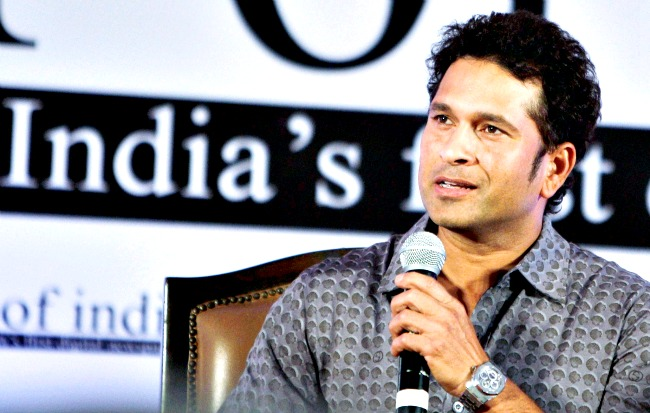 Sachin Tendulkar speaks during the launch of a digital newspaper in New Delhi on Thursday. (Photo: PTI)