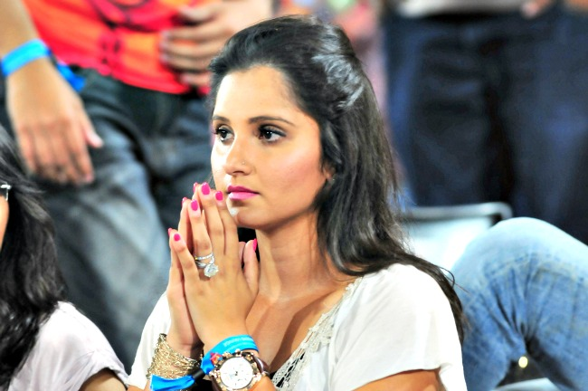 Tennis star Sania Mirza during the IPL match between Royal Challengers Bangalore and Sunrisers Hyderabad at the Rajiv Gandhi International Stadium in Hyderabad. (Photo: BCCL)