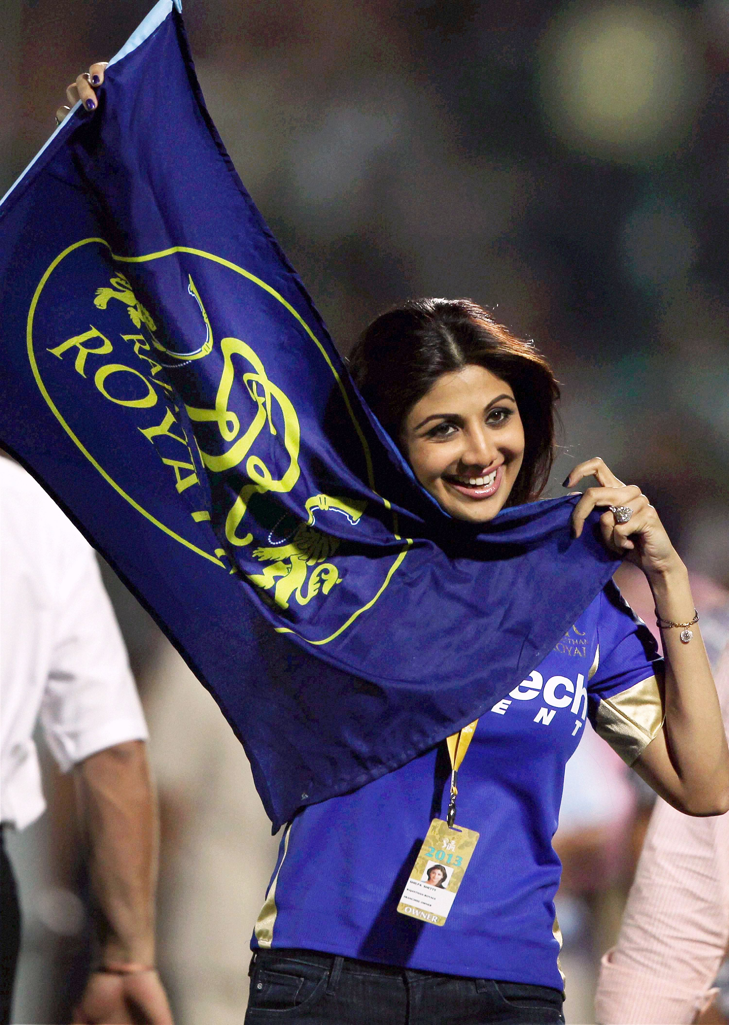 Shilpa Shetty celebrates her team's victory over Kolkata Knight Riders in Jaipur on Monday. (Photo: PTI)