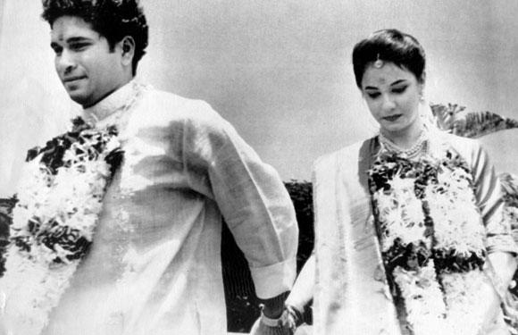 Sachin Tendulkar with bride Anjali