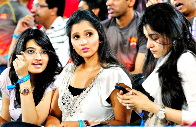 Tennis star Sania Mirza with her family and friends during the IPL match between Royal Challengers Bangalore and Sunrisers Hyderabad at the Rajiv Gandhi International Stadium in Hyderabad. (Photo: PTI)