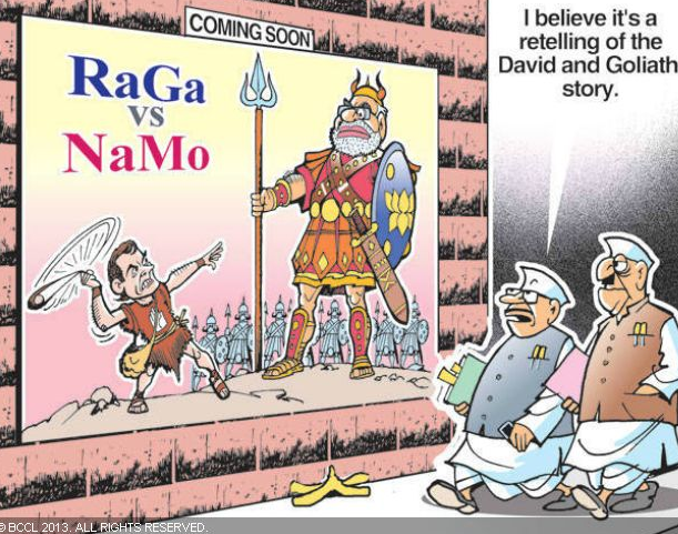 RaGa vs NaMo: David vs Goliath?The battle between Rahul Gandhi and Narendra Modi is given a mythological touch with this cartoon publsihed in The Times of India on April 3, 2013.
