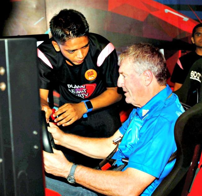 Mumbai Indians coach John Wright gets into F1 mode. (Photo: PTI)