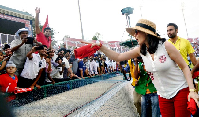 Preity Zinta interacts with the crowd in Mohali on Tuesday. (Photo: BCCL)