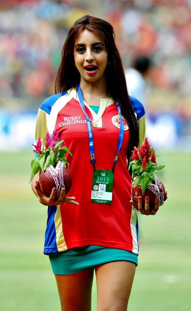 Actress Sanjana during the IPL match at the M Chinnaswamy Stadium in Bangalore. (Photo: BCCL)