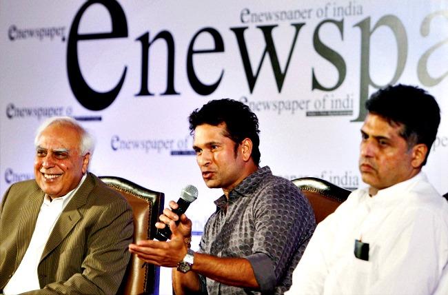 Manish Tewari, Kapil Sibal, and Sachin Tendulkar
