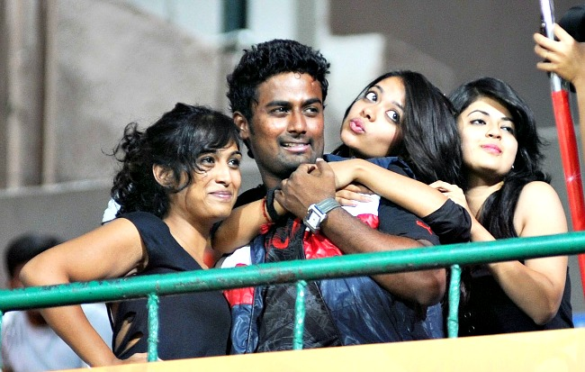 Fans pose during the IPL match in Bengaluru on Tuesday. (Photo: BCCL)