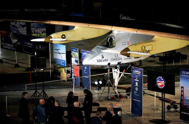The Solar Impulse solar powered airplane is seen during a press  conference at the NASA Ames Research Center in Mountain View, California.
