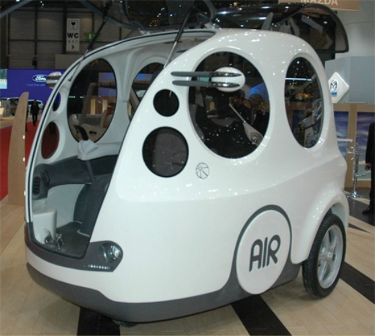AIRPod  This compressed air-powered three-wheeled vehicle is the perfect response to increasing fuel prices. This 220-kg pod can attain speeds of up to 65 kmh and can seat 3 to 4 people in its compact cabin. Operated by a simple joystick, this could slowly replace outdated golf carts. It could also usher in a whole new era of eco-friendly driving in our massively congested megacities.  Still in the developmental stage, it is bound to make a splash when it goes into mass production.  Photo: www.carpictures.com