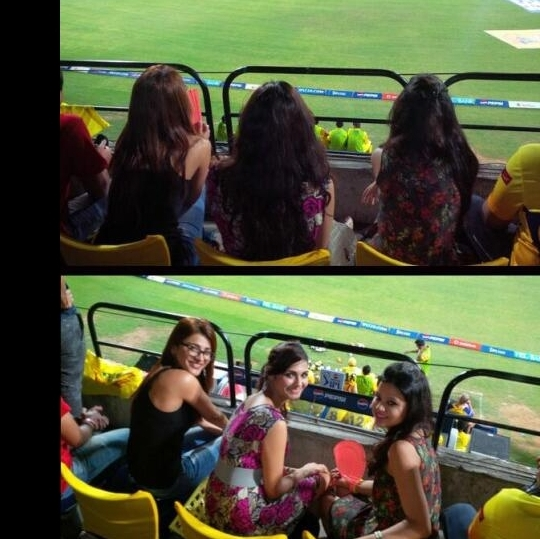 Shruti Haasan and Sakshi Dhoni upped the glam quotient in the CSK stands during a recent match