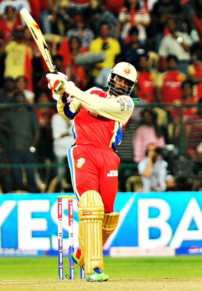 Gayle slammed a 30-ball blistering century against Pune Warriors India. It is the fastest hundred on record in all forms of cricket. He broke the earlier T20 record of 34-ball century by Andrew Symonds (Kent vs Middlesex) in 2004. He also surpassed the earlier IPL record of 37 ballsby Yusuf Pathan (Rajasthan Royals vs Mumbai Indians) in 2010. (Photo: BCCL)
