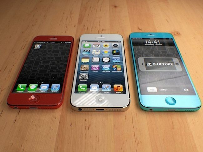 The second image shows the concept images in variants, the red one is smaller while the turquoise image is larger. Both are compared to the present day iPhone.