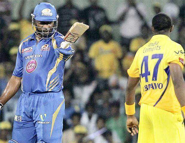 Mumbai Indians' Keiron Pollard and Chennai Super Kings' Dwayne Bravo