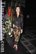 Sangeeta Bijlani arrives for fashion designer duo Abu Jani and Sandeep Khosla's 25th anniversary party, 2011