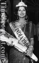 Sangeeta Bijlani, a 17-year-old girl poses after being crowned as 'Femina Miss India 1980' in a contest organised by Femina in Bombay on April 26, 1980.