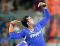 Rajasthan Royals' S Sreesanth celebrates the wicket of Delhi Daredevils' Unmukt Chand
