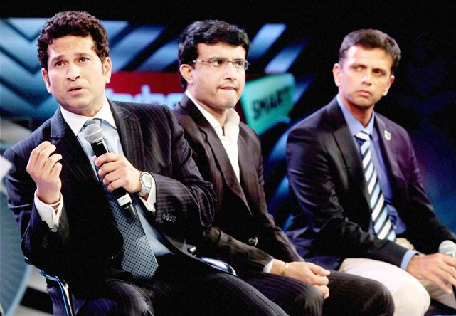 Sachin Tendulkar, Sourav Ganguly and Rahul Dravid during the platinum jubilee celebration of Karnataka State Cricket Association in Bengaluru. (Photo: PTI)