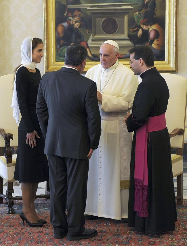 Pope Francis talks with Jordan