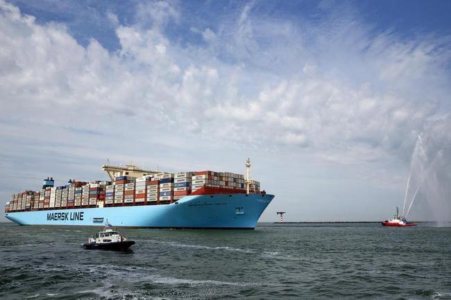 The MV Maersk Mc-Kinney Moller, the world