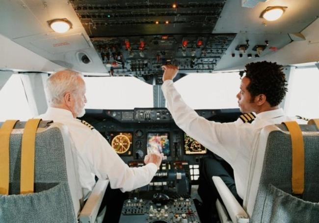 Aircraft pilot and flight engineers