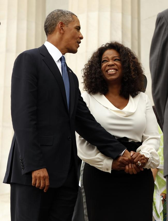Obama and Oprah Winfrey during the 50th anniversary of the March on Washington