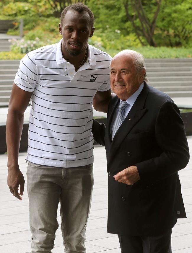 Usain Bolt and Sepp Blatter