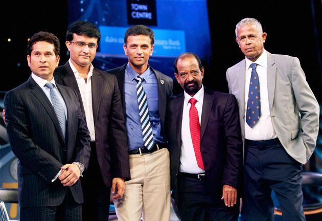 Sachin Tendulkar, Sourav Ganguly, Rahul Dravid and Gundappa Viswanath during the platinum jubilee celebration of Karnataka State Cricket Association in Bengaluru. (Photo: PTI)