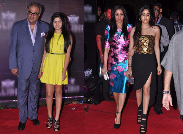 Boney Kapoor with daughter Khushi, Sridevi with daughter Jhanvi